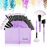 Набор кисточек  для макияжа из 32 шт с чехлом, фиолетовые.
