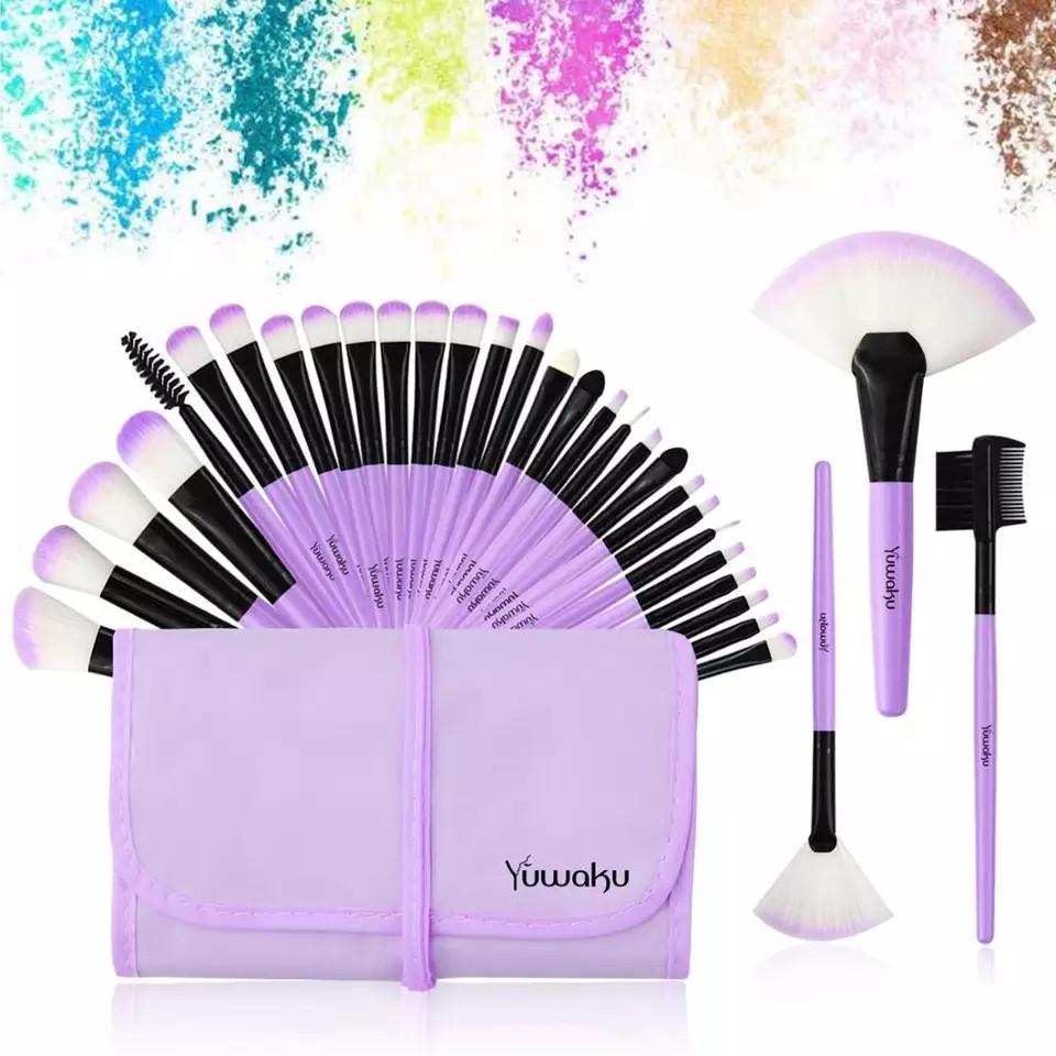 Набор кисточек для макияжа из 32 шт с чехлом, фиолетовые. - фото 1