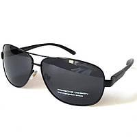 Солнцезащитные мужские очки в металле с серой поляризованной линзой, в чёрной оправе,Porsche