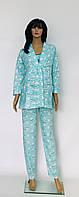 Байковая пижама с халатом для беременных и кормящих женщин Зайчик  бирюзового цвета 44-52 р