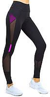 Жіночі легінси для фітнесу, спортивні лосини з сіткою, висока посадка і утяжка Valeri 1221 рожева, фото 1