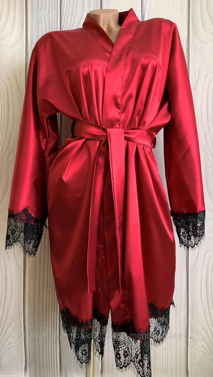 Женственный атласный халат с поясом на запах