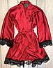 Женственный атласный халат с поясом на запах, фото 3