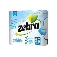 """Туалетная бумага """"Zebra White"""" 3 слоя 4 шт."""