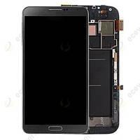 Samsung Galaxy note II N7100 gray LCD, модуль, дисплей с сенсорным экраном с рамкой в сборе