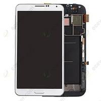 Samsung Galaxy note II N7100 white LCD, модуль, дисплей с сенсорным экраном с рамкой в сборе
