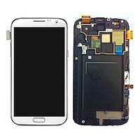 Samsung Galaxy Note2 LTE N7105 white LCD, модуль, дисплей с сенсорным экраном с рамкой в сборе