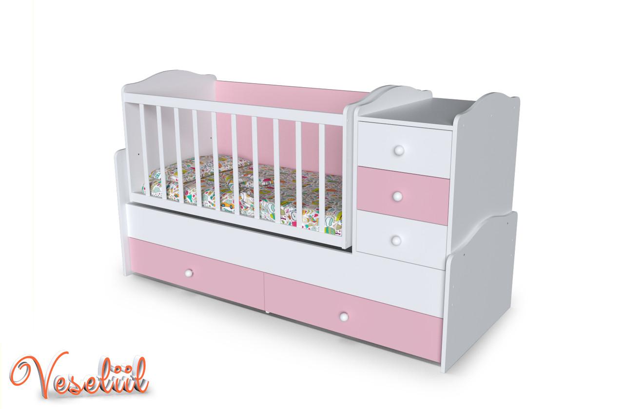 Кровать-трансформер Панда цвет белый/розовый