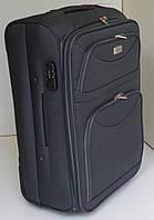Чемодан дорожный на колесах тканевый: среднего размера - серый
