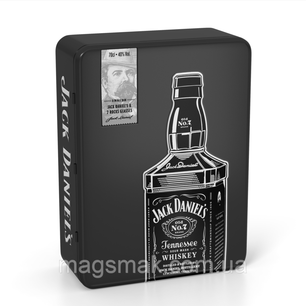 Виски Jack Daniels 40% 0.7л + 2 бокала в металлической коробке