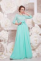 Вечернее платье в пол легкая ткань широкий пояс на талии цвет мята
