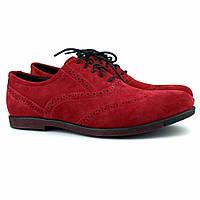 Красные туфли броги оксфорды мужские замшевые Rosso Avangard Romano Special Red Solferino Vel, фото 1