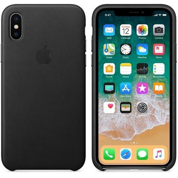 Кожаный чехол Apple Leather Case Black (MQTD2) для iPhone X/XS (high copy)