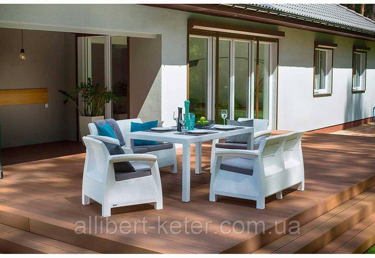 Набор садовой мебели Corfu Fiesta Set White ( белый ) из искусственного ротанга