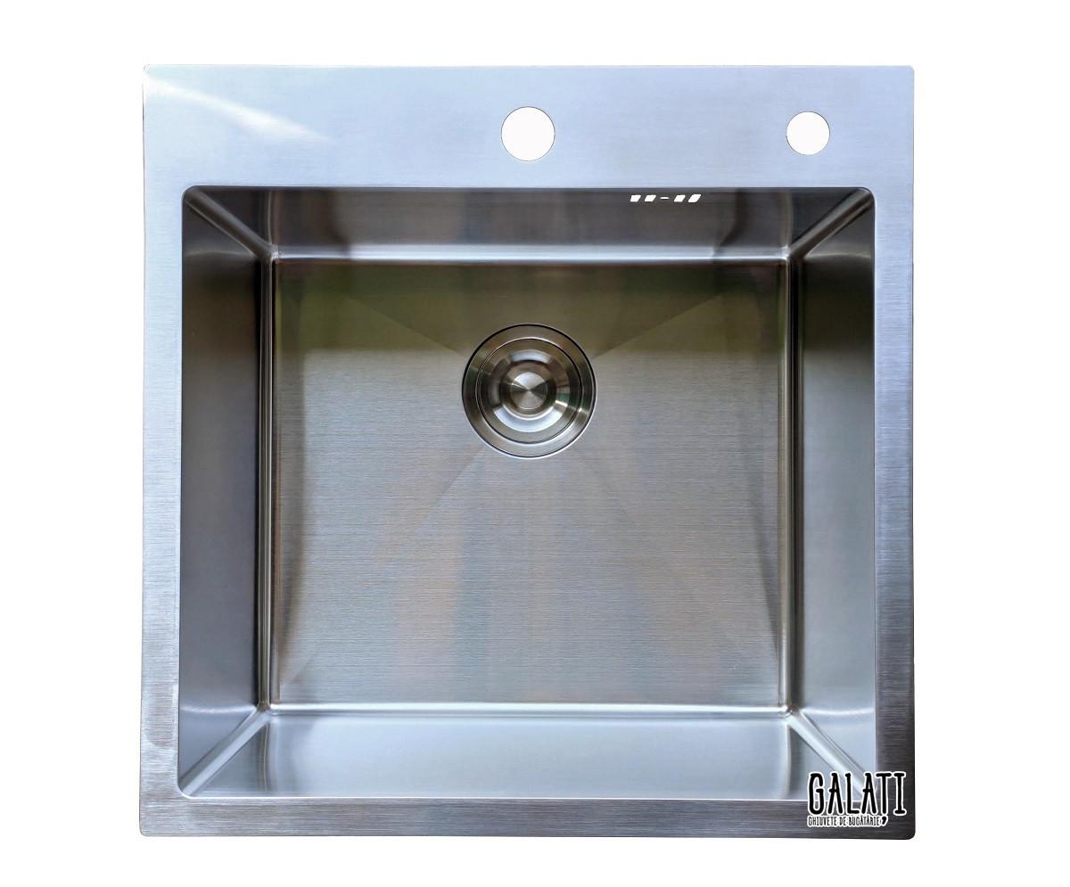 Кухонная мойка врезная под столешницу 50*50*23 см Galati Arta U-450 (бесплатная доставка)