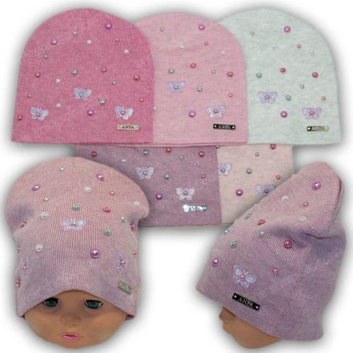 Детская шапка с бусинками р. 46-48