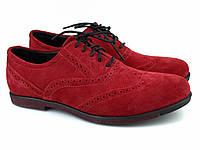 Красные туфли броги оксфорды мужские замшевые обувь больших размеров Rosso Avangard BS Romano Red Vel, фото 1