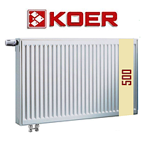 Стальной радиатор 22 т 500*500 Koer нижнее подключение с термоклапаном