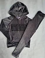 Спортивный костюм подростковый для девочки с стразами7-11лет, коричневого цвета