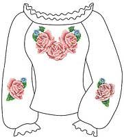 """Заготовка вышиванки """"Розы"""" для девочки 2-5 лет"""