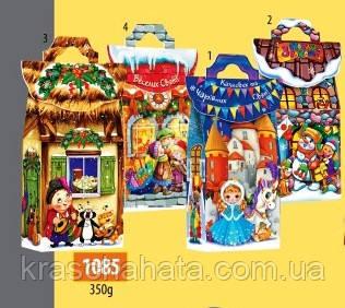 Картонная новогодняя коробка, Сказочный домик, 350 грамм,  Картонная упаковка для конфет, 10х22х5,7 см