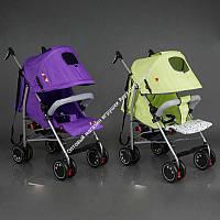 Коляска прогулочная JOY Q 2005  2 цвета в ящике /фиолетовый+салатовый/ широкий козырек, футкавер, d колес - 15см, в корке (ОПТОМ)