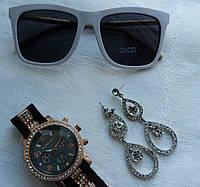 Модные  женские солнцезащитные очки  Gucci оправа белая