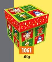 Новогодняя коробка, Кубик мышка, 500 гр, Картонная упаковка для конфет, 11,5х11,5х11,5 см
