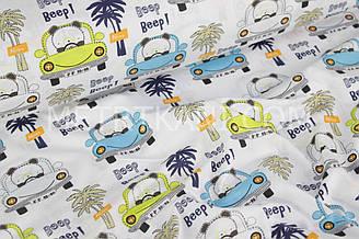 """Ткань хлопковая  """"Машинки с мишками и пальмами"""" на белом №525"""