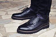 Туфли броги мужские из натуральной кожи Onyx black