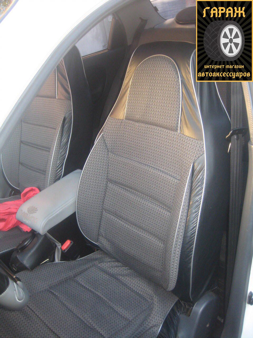 Чехлы сидений ВАЗ 2107 Пилот комплект кожзаменитель черный и ткань серая