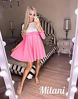 Женское двухцветное весенне-осеннее мини платье с рюшами,рукав длинный (французский трикотаж) 3 цвета