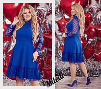 Женское красивое миди платье с рукавом три четверти,сзади на змейке (креп дайвинг,сетка горох) 3 цвета(батал), фото 1