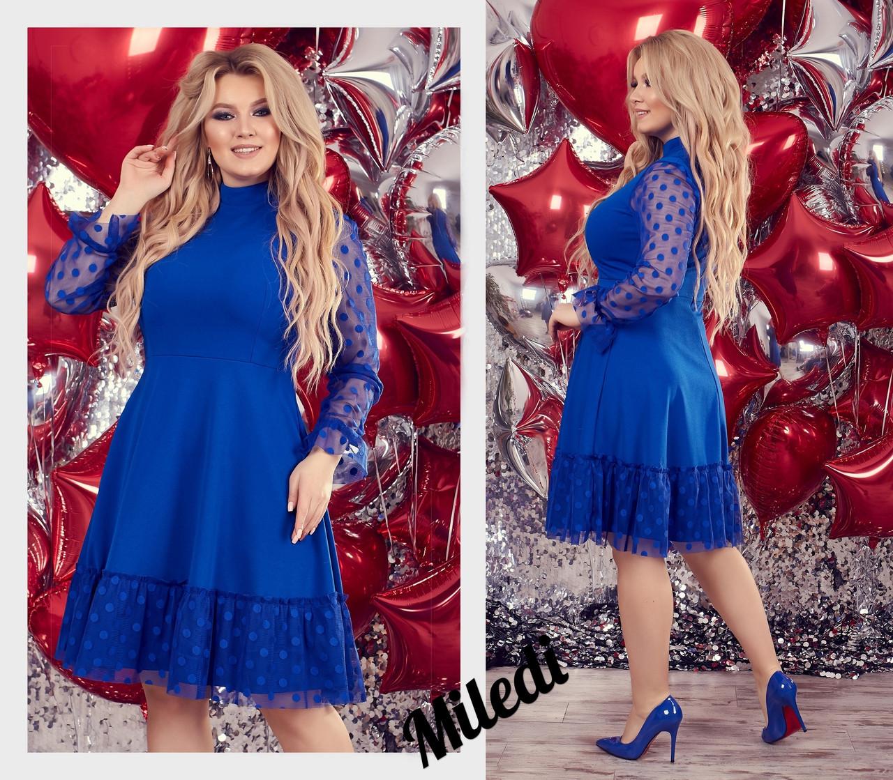 Женское красивое миди платье с рукавом три четверти,сзади на змейке (креп дайвинг,сетка горох) 3 цвета(батал)
