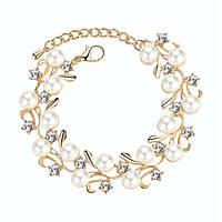 Вечерний браслет - Россыпь жемчуга (Золотистый с белым)