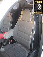 """Чехлы сидений Chevrolet Aveo 2006-2012 """"Пилот"""" кожзам спинка + ткань темно-серая"""