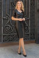 Демисезонное черное платье по фигуре из эко-кожи рукав три четверти