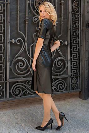 Демисезонное черное платье по фигуре из эко-кожи рукав три четверти, фото 2