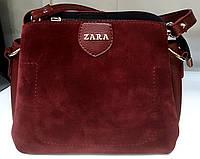 Женский замшевый клатч Zara на три отделения с двумя ручками зеленый 24*17 см