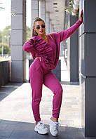 Вязаный женский костюм с рюшей на свитере, фото 1
