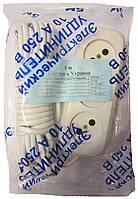 Удлинитель 10м с латунной контактной группой и вилкой 10А 250В 2000Вт