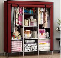 Складной тканевый шкаф 3 секции HCX 88130 Storage Wardrobe, коричневый