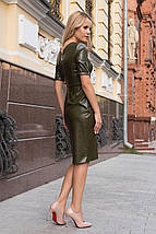 Осеннее платье на каждый день до колен с пуговицами и боковыми карманами цвет хаки, фото 3