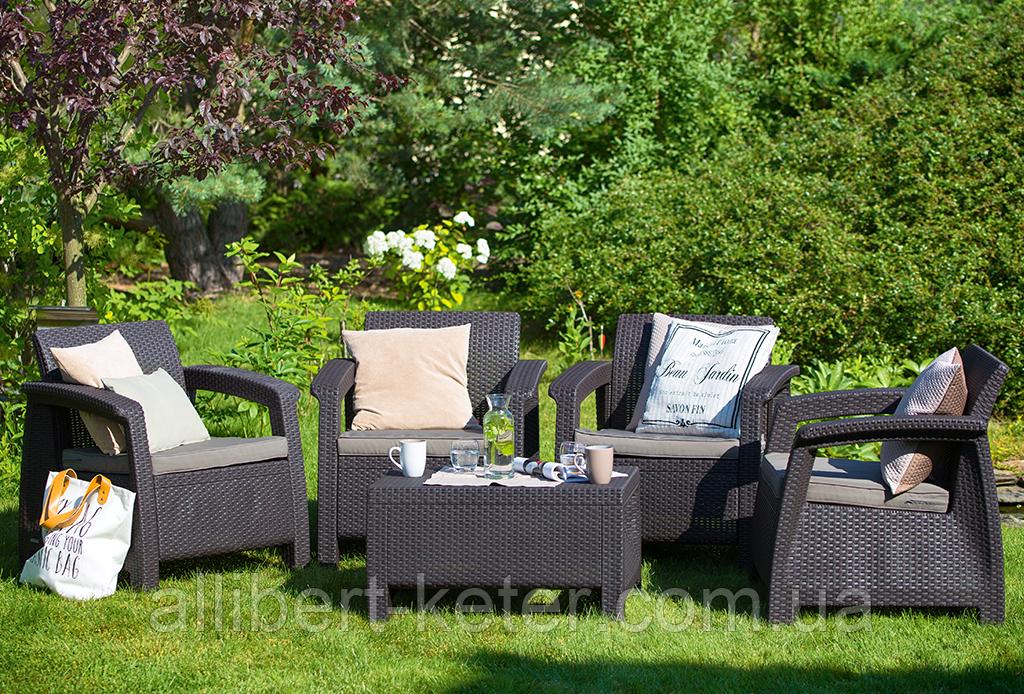 Набор садовой мебели Corfu Quattro Set из искусственного ротанга