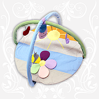 """Коврик игровой """"Ромашка цветная"""" с дугами и подвесными игрушками"""
