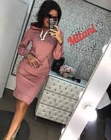 Женское спортивное  миди платье с длинным рукавом и капюшоном (двухнитка турецкая) большие размеры, фото 1