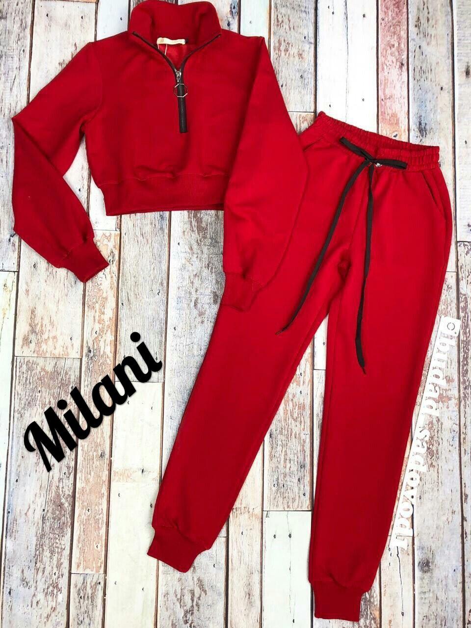 Женский классный весенне-осенний спортивный костюм с короткой кофтой (турецкая двух нитка) 3 цвета