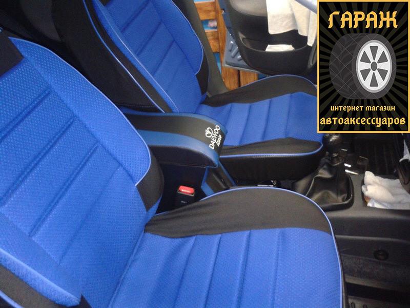 Чехлы сидений ЗАЗ Ланос/ ZAZ Lanos Пилот комплект кожзаменитель черный и ткань синяя (горбы)