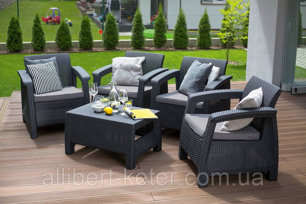 Набор садовой мебели Corfu Quattro Set Graphite ( графит ) из искусственного ротанга