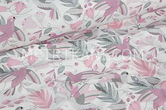 """Ткань хлопковая """"Колибри в цветах"""" серо-розовые на белом  №1647"""